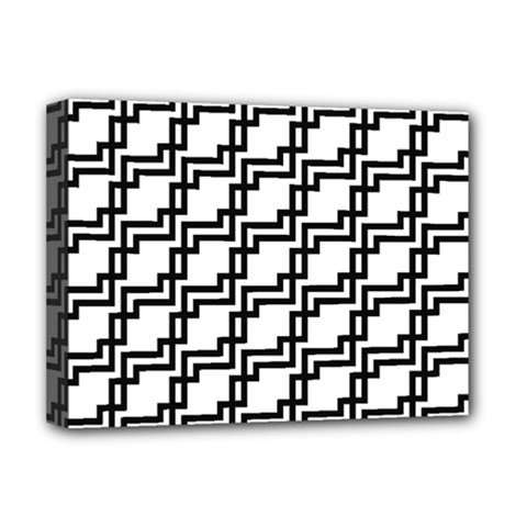 Pattern Monochrome Repeat Deluxe Canvas 16  X 12  (stretched)