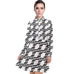 Pattern Monochrome Repeat Long Sleeve Chiffon Shirt Dress by Sapixe