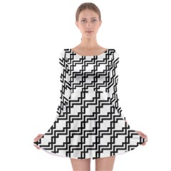 Pattern Monochrome Repeat Long Sleeve Skater Dress by Sapixe