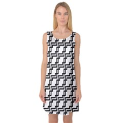 Pattern Monochrome Repeat Sleeveless Satin Nightdress by Sapixe