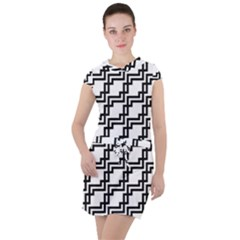Pattern Monochrome Repeat Drawstring Hooded Dress