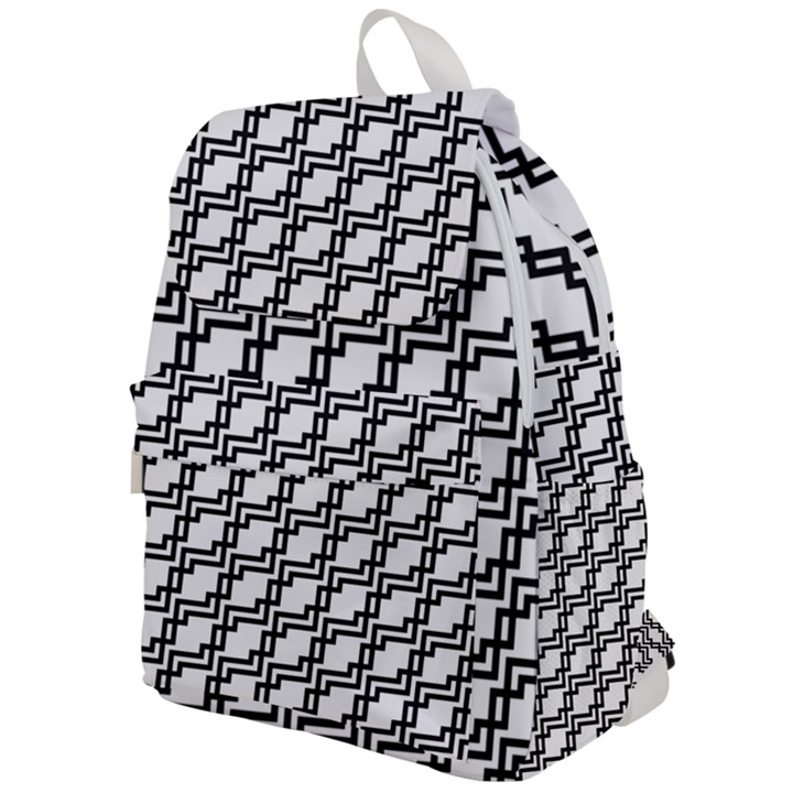 Pattern Monochrome Repeat Top Flap Backpack