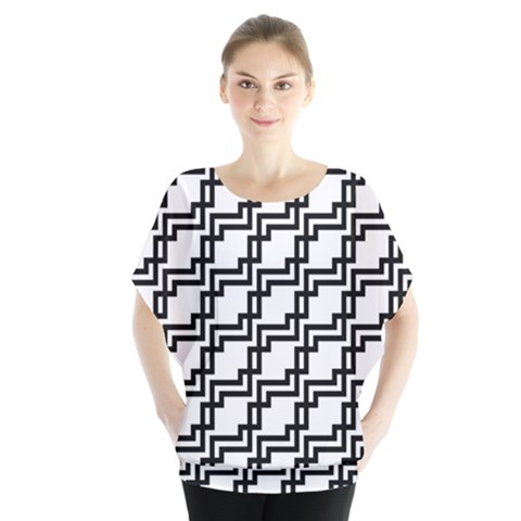 Pattern Monochrome Repeat Batwing Chiffon Blouse by Sapixe