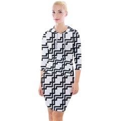 Pattern Monochrome Repeat Quarter Sleeve Hood Bodycon Dress