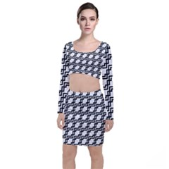 Pattern Monochrome Repeat Top And Skirt Sets