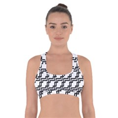 Pattern Monochrome Repeat Cross Back Sports Bra