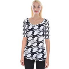 Pattern Monochrome Repeat Wide Neckline Tee by Sapixe