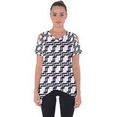 Pattern Monochrome Repeat Cut Out Side Drop Tee by Sapixe