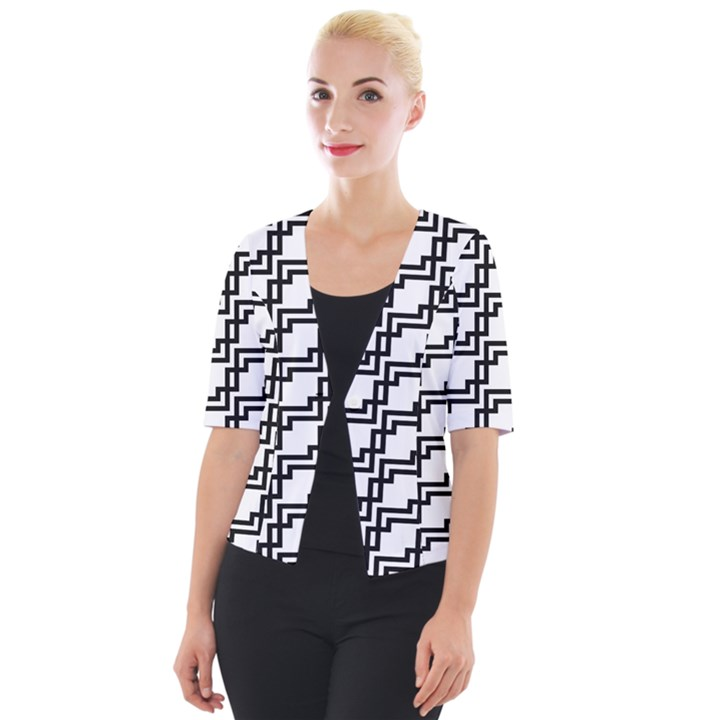 Pattern Monochrome Repeat Cropped Button Cardigan