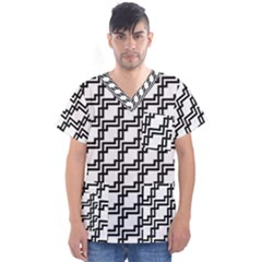 Pattern Monochrome Repeat Men s V Neck Scrub Top by Sapixe