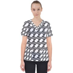Pattern Monochrome Repeat Women s V Neck Scrub Top by Sapixe