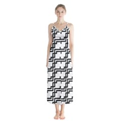 Pattern Monochrome Repeat Button Up Chiffon Maxi Dress by Sapixe