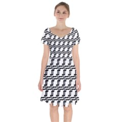 Pattern Monochrome Repeat Short Sleeve Bardot Dress