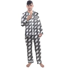 Pattern Monochrome Repeat Men s Satin Pajamas Long Pants Set