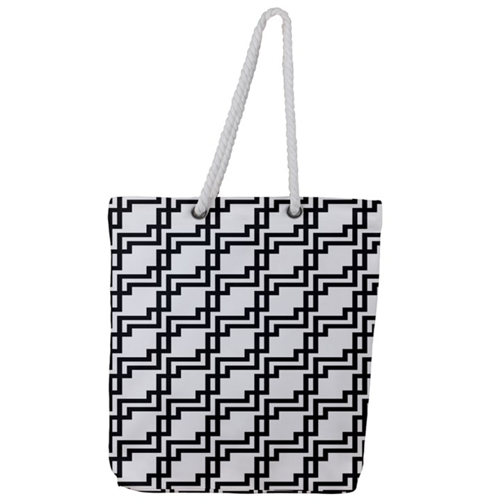 Pattern Monochrome Repeat Full Print Rope Handle Tote (Large)