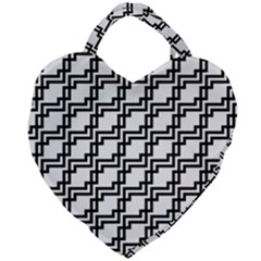 Pattern Monochrome Repeat Giant Heart Shaped Tote by Sapixe