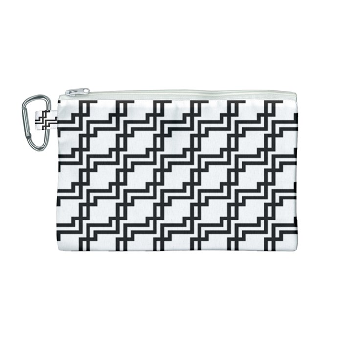 Pattern Monochrome Repeat Canvas Cosmetic Bag (Medium)