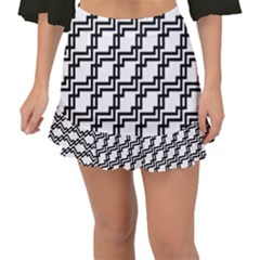 Pattern Monochrome Repeat Fishtail Mini Chiffon Skirt by Sapixe