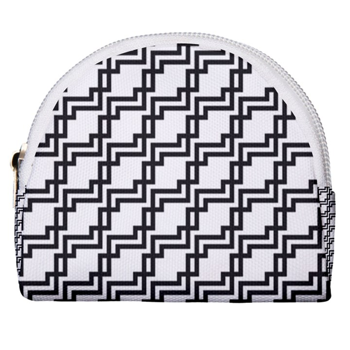 Pattern Monochrome Repeat Horseshoe Style Canvas Pouch