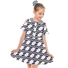Pattern Monochrome Repeat Kids  Short Sleeve Shirt Dress