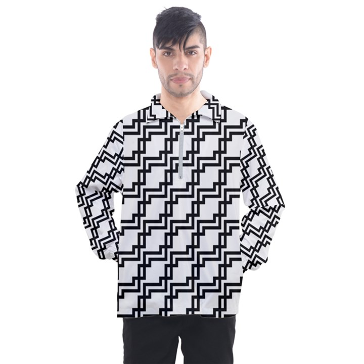 Pattern Monochrome Repeat Men s Half Zip Pullover