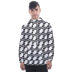 Pattern Monochrome Repeat Men s Front Pocket Pullover Windbreaker by Sapixe