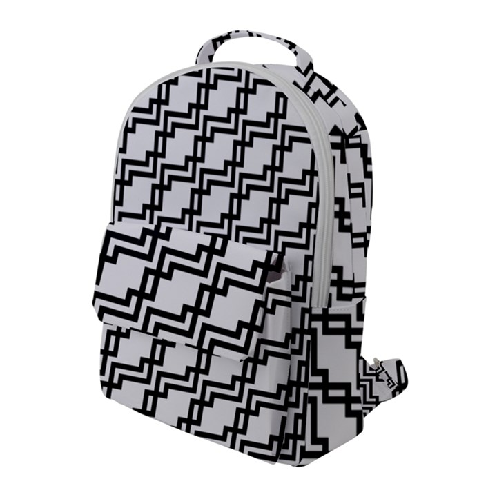 Pattern Monochrome Repeat Flap Pocket Backpack (Large)