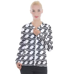 Pattern Monochrome Repeat Casual Zip Up Jacket