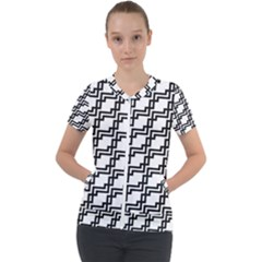Pattern Monochrome Repeat Short Sleeve Zip Up Jacket