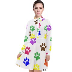 Pawprints Paw Prints Paw Animal Long Sleeve Chiffon Shirt Dress