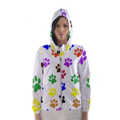 Pawprints Paw Prints Paw Animal Women s Hooded Windbreaker by Sapixe