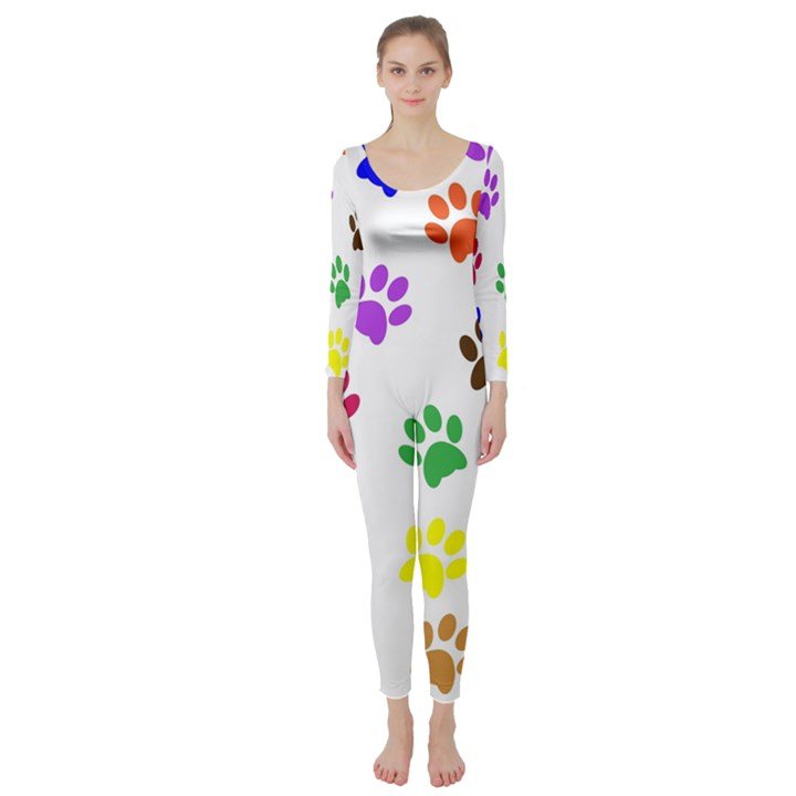 Pawprints Paw Prints Paw Animal Long Sleeve Catsuit