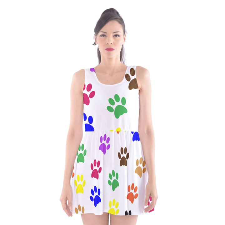 Pawprints Paw Prints Paw Animal Scoop Neck Skater Dress