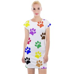 Pawprints Paw Prints Paw Animal Cap Sleeve Bodycon Dress