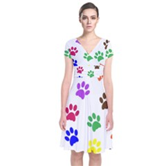 Pawprints Paw Prints Paw Animal Short Sleeve Front Wrap Dress