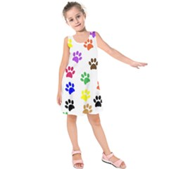 Pawprints Paw Prints Paw Animal Kids  Sleeveless Dress