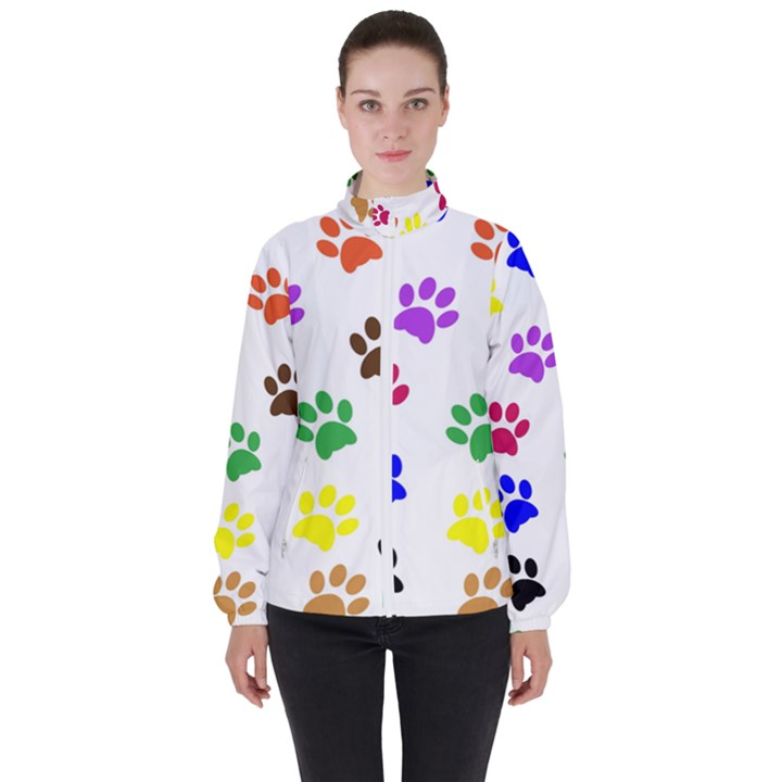 Pawprints Paw Prints Paw Animal Women s High Neck Windbreaker