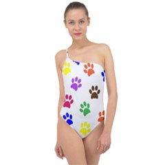 Pawprints Paw Prints Paw Animal Classic One Shoulder Swimsuit