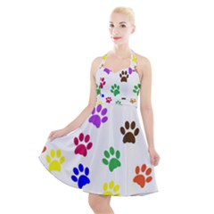 Pawprints Paw Prints Paw Animal Halter Party Swing Dress