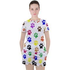 Pawprints Paw Prints Paw Animal Women s Tee And Shorts Set