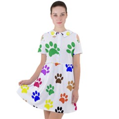 Pawprints Paw Prints Paw Animal Short Sleeve Shoulder Cut Out Dress