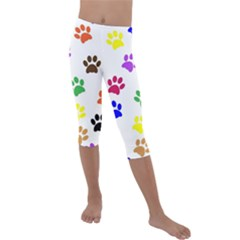 Pawprints Paw Prints Paw Animal Kids  Lightweight Velour Capri Leggings  by Sapixe