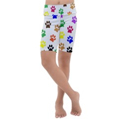 Pawprints Paw Prints Paw Animal Kids  Lightweight Velour Cropped Yoga Leggings by Sapixe