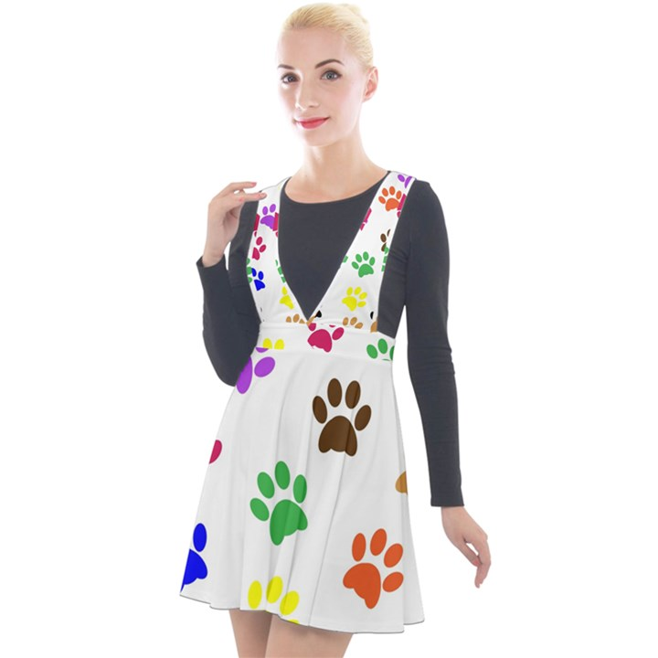 Pawprints Paw Prints Paw Animal Plunge Pinafore Velour Dress