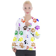 Pawprints Paw Prints Paw Animal Casual Zip Up Jacket