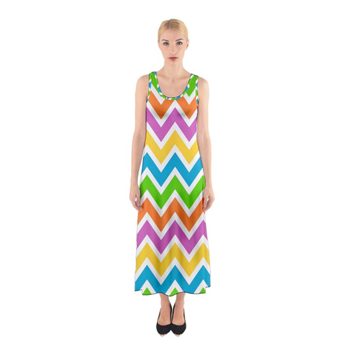Chevron Pattern Design Texture Sleeveless Maxi Dress