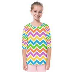 Chevron Pattern Design Texture Kids  Quarter Sleeve Raglan Tee by Sapixe