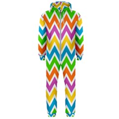 Chevron Pattern Design Texture Hooded Jumpsuit (men)