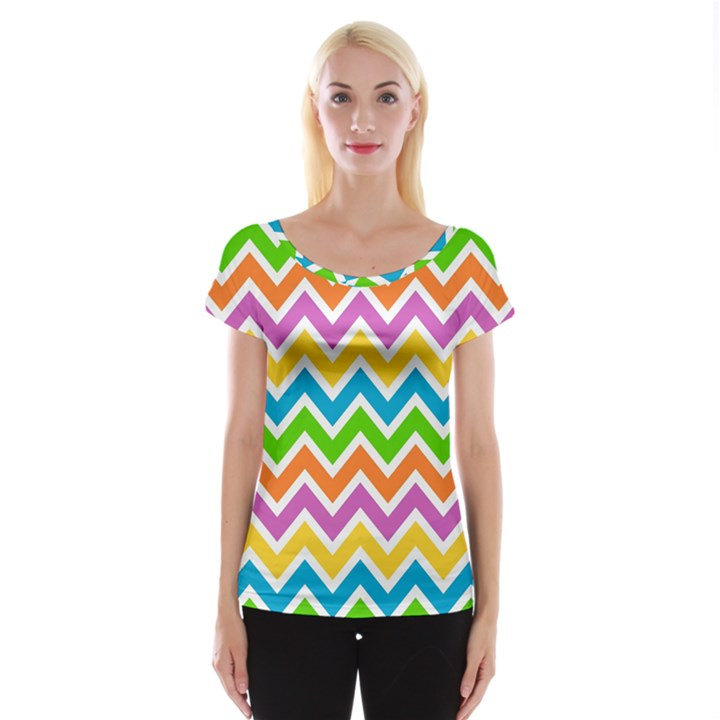 Chevron Pattern Design Texture Cap Sleeve Top
