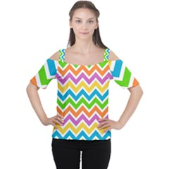 Chevron Pattern Design Texture Cutout Shoulder Tee by Sapixe
